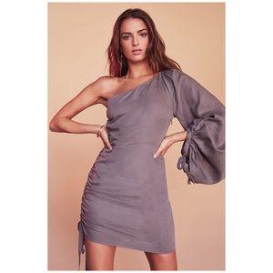 {Tularosa} Jane Dress In Coal One Sleeve Side Tie